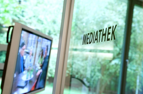 Mediathek mit TV-Großbildschirm